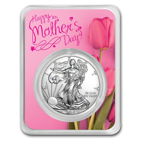 2018 1 oz Silver American Eagle - Mother's Day Pink