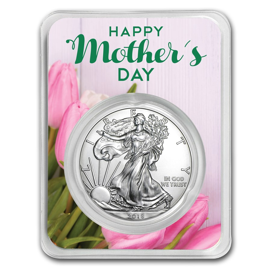 2018 1 oz Silver American Eagle - Mother's Day Tulips