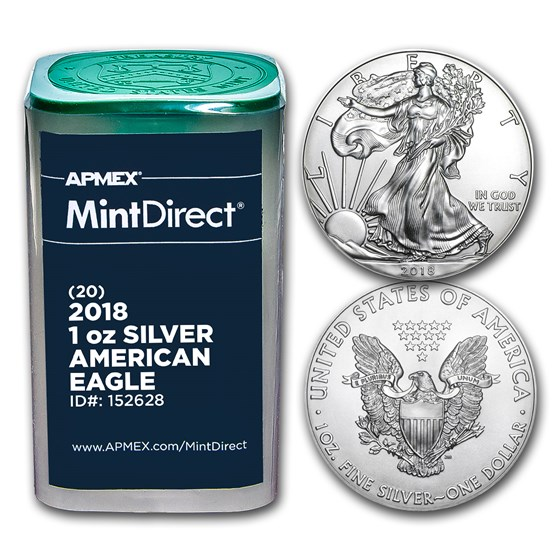 2018 1 oz Silver American Eagles (20-Coin MintDirect® Tube)