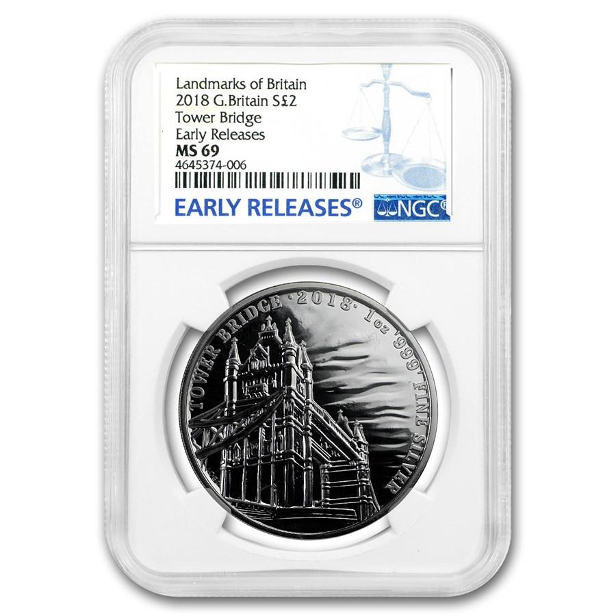 2018 1 oz Silver Landmarks of Britain Tower Bridge MS-69 NGC ER