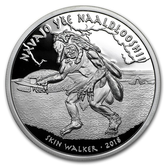 2018 1 oz Silver Native American Myths Navajo Skin Walker Proof