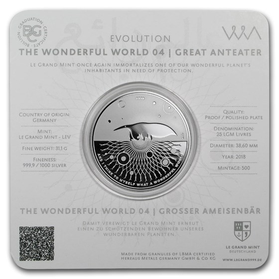 2018 1 oz Silver Proof Evolution I Wonderful World (Anteater)