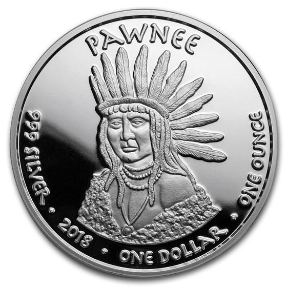 2018 1 oz Silver State Dollars Kansas Pronghorn Prf