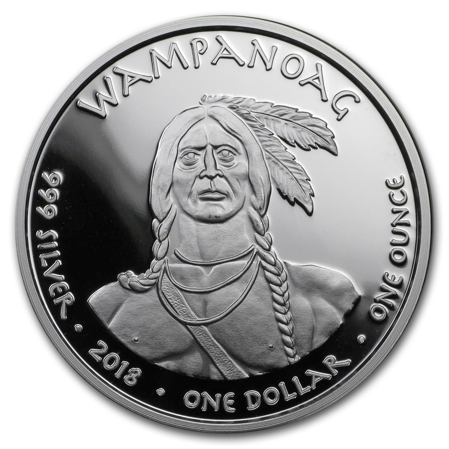 2018 1 oz Silver State Dollars Rhode Island Shark Proof