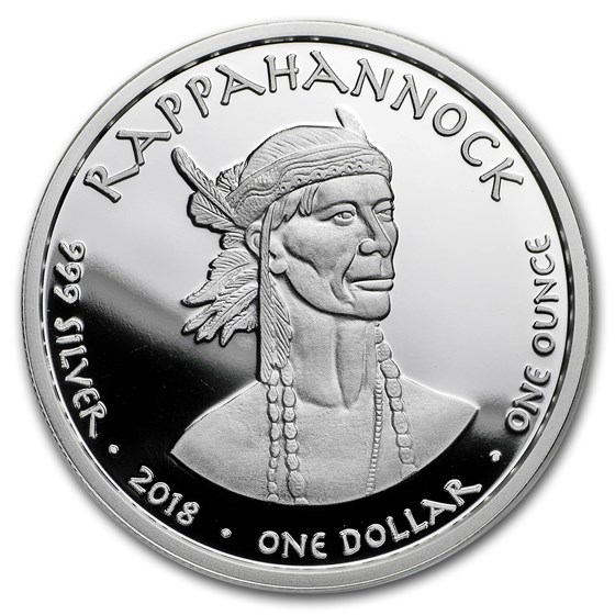 2018 1 oz Silver State Dollars Virginia Bat Proof
