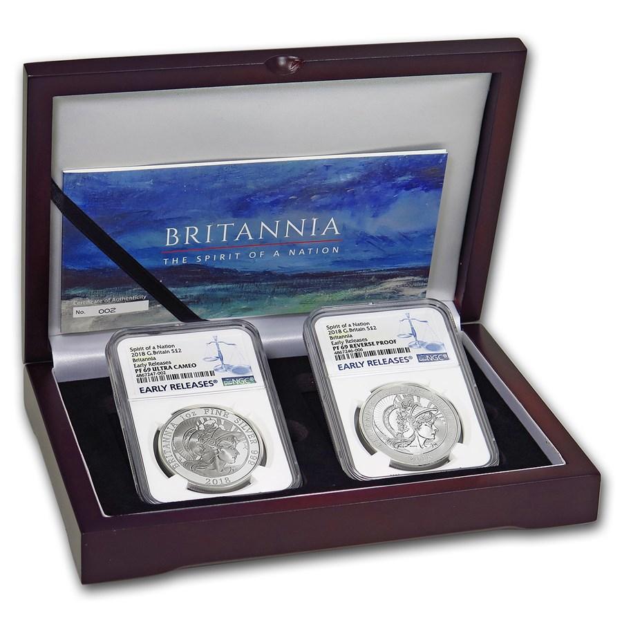 2018 2-Coin Silver 1 oz Britannia Prf/Rev Prf Set PF-69 NGC (ER)