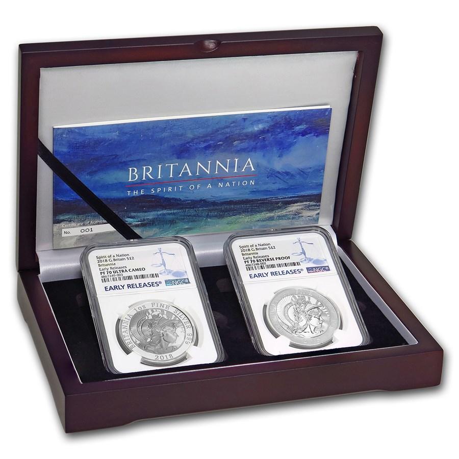 2018 2-Coin Silver 1 oz Britannia Prf/Rev Prf Set PF-70 NGC (ER)