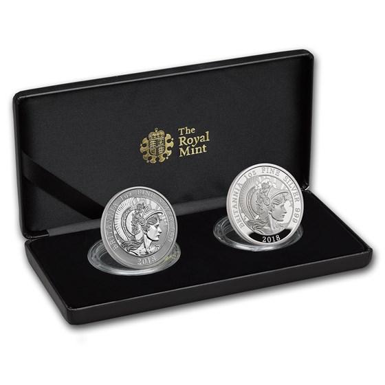 2018 2-Coin Silver 1 oz Britannia Proof/Reverse Proof Set
