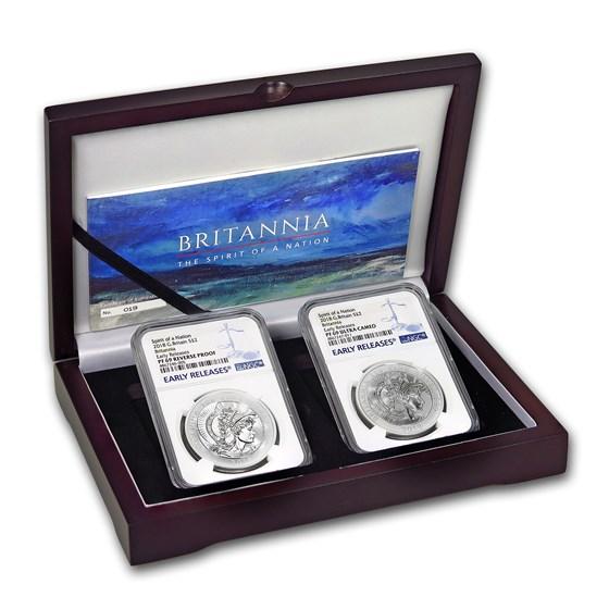 2018 2-Coin Silver 1 oz Britannia Reverse Prf Set PF-69 NGC (ER)