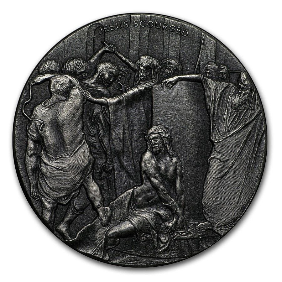 2018 2 oz Silver Coin - Biblical Series (Jesus Scourged)