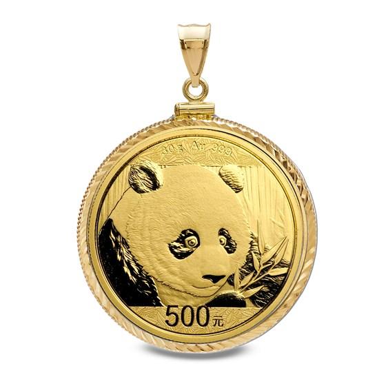 2018 30 gram Gold Panda Pendant (Diamond-Cut Screw Top Bezel)