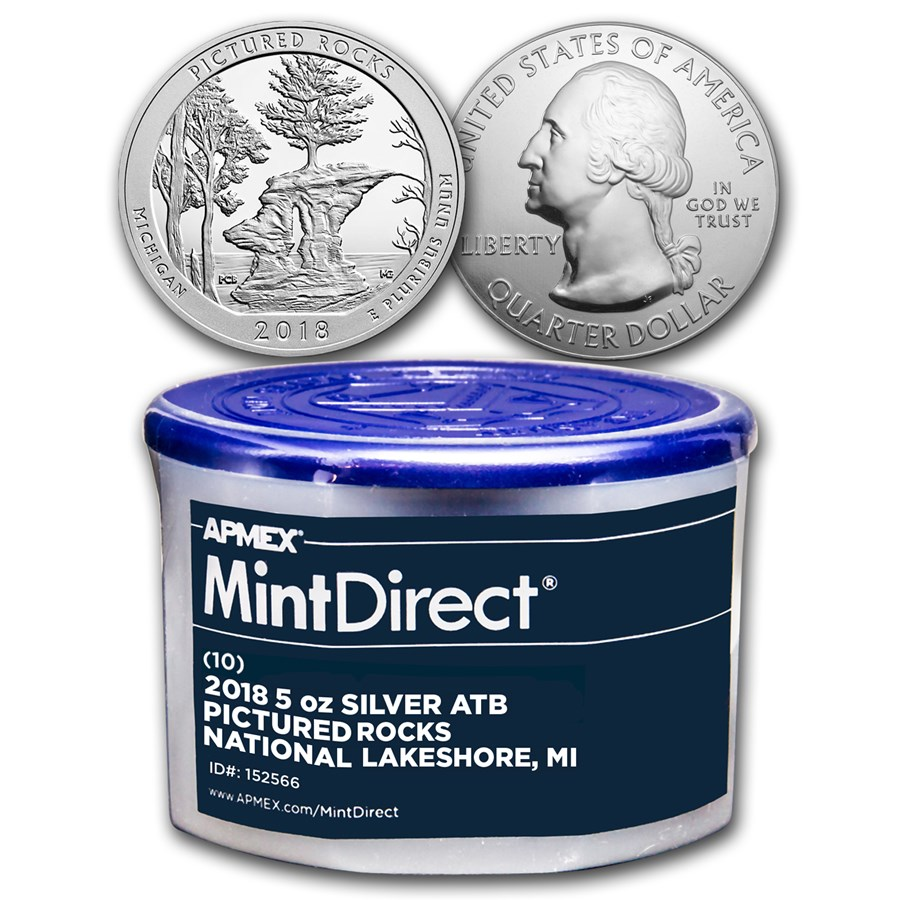 2018 5 oz Silver ATB Pictured Rocks (10-Coin MintDirect® Tube)