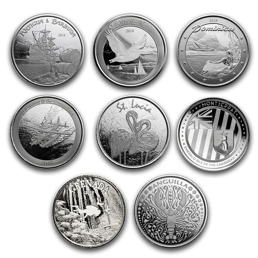 2018 8-Coin 1 oz Silver Eastern Caribbean 8 Set