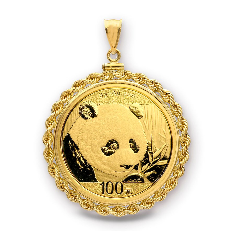 2018 8 gram Gold Panda Pendant (Rope-Screw Top Bezel)