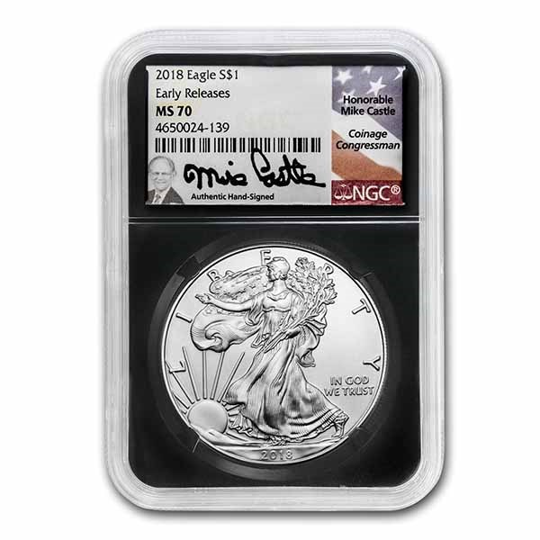 2018 American Silver Eagle MS-70 NGC (ER, Mike Castle Signed)
