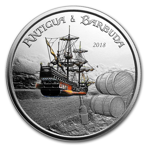 2018 Antigua & Barbuda 1 oz Silver Rum Runner Proof (Colorized)