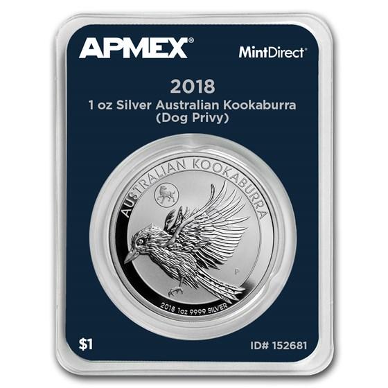 2018 AUS 1 oz Silver Kookaburra Dog Privy (MintDirect® Single)