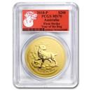 2018 AUS 2 oz Gold Lunar Dog MS-70 PCGS (FS, Red Label)