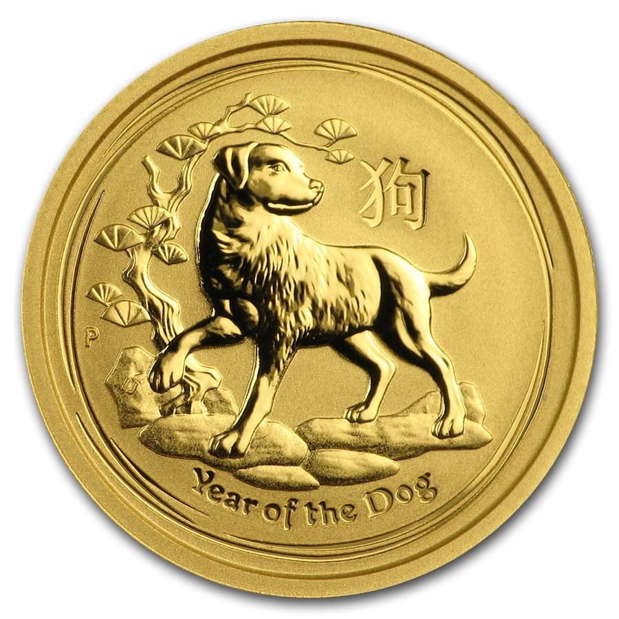 2018 Australia 1/10 oz Gold Lunar Dog BU