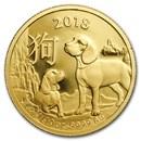 2018 Australia 1/10 oz Gold Lunar Year of the Dog BU (RAM)