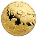 2018 Australia 1/2 oz Gold Lunar Year of the Dog BU (RAM)
