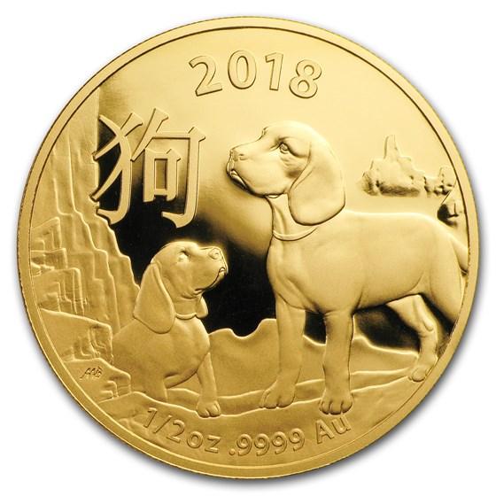 2018 Australia 1/2 oz Gold Lunar Year of the Dog BU (RAM)