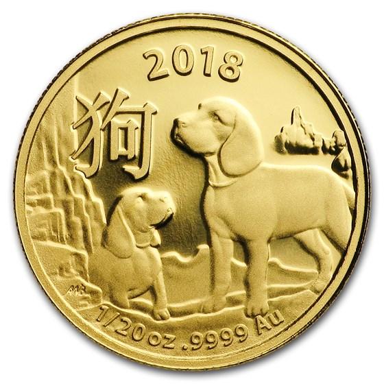 2018 Australia 1/20 oz Gold Lunar Year of the Dog BU (RAM)