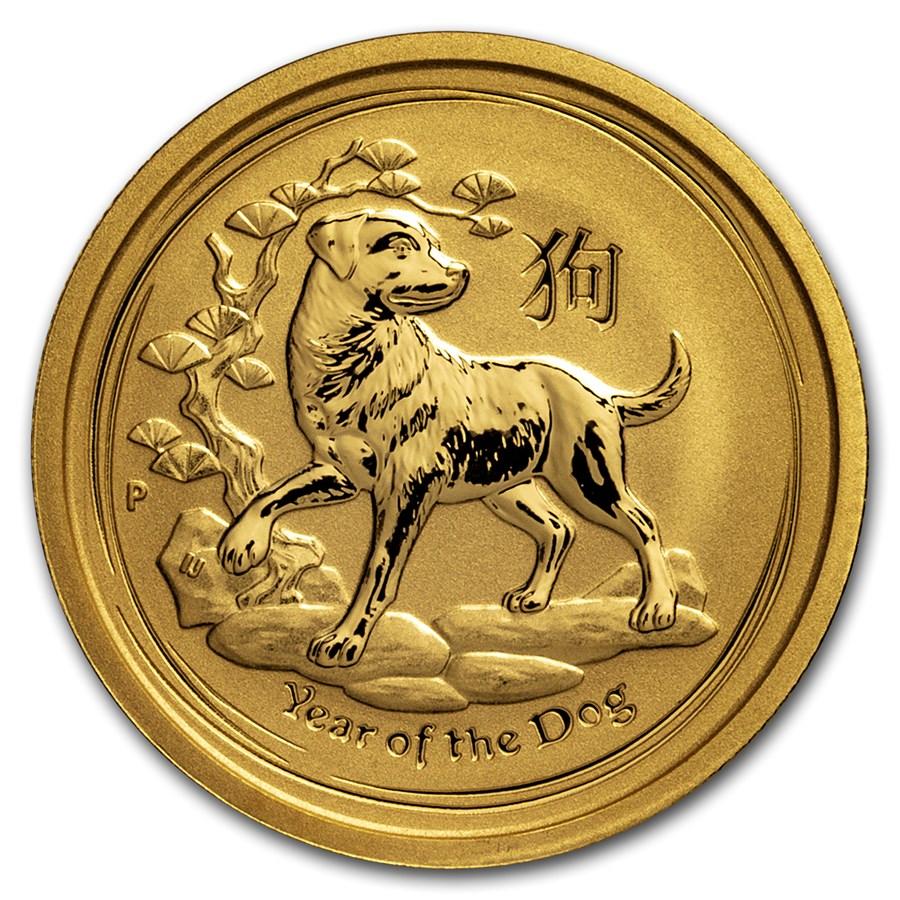 2018 Australia 1/4 oz Gold Lunar Dog BU