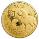 2018 Australia 1/4 oz Gold Lunar Year of the Dog BU (RAM)