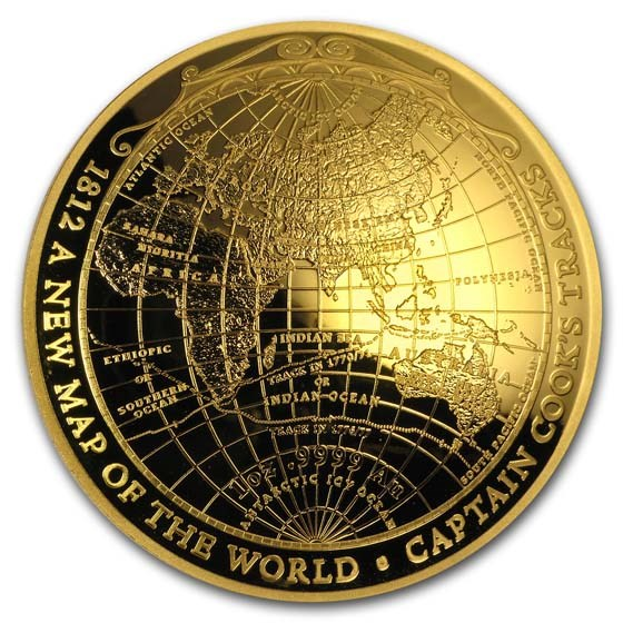 2018 Australia 1 oz Gold $100 Map of the World Domed Proof Coin