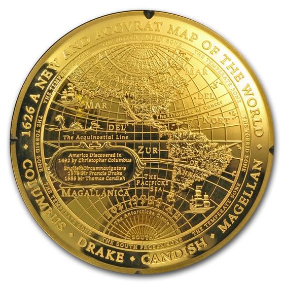 2018 Australia 1 oz Gold $100 Map of the World Western Hemisphere