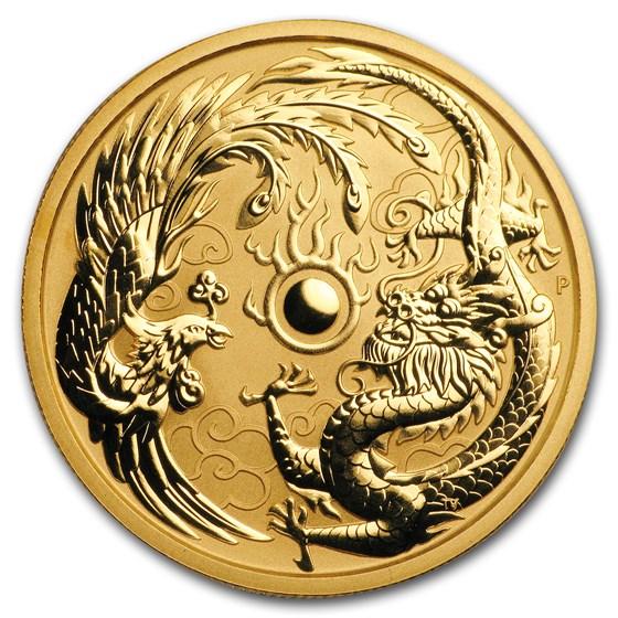 2018 Australia 1 oz Gold Dragon & Phoenix BU