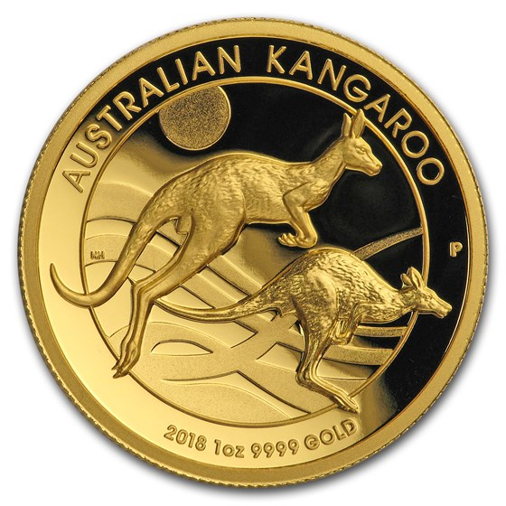 2018 Australia 1 oz Gold Kangaroo Proof (High Relief, Box & COA)