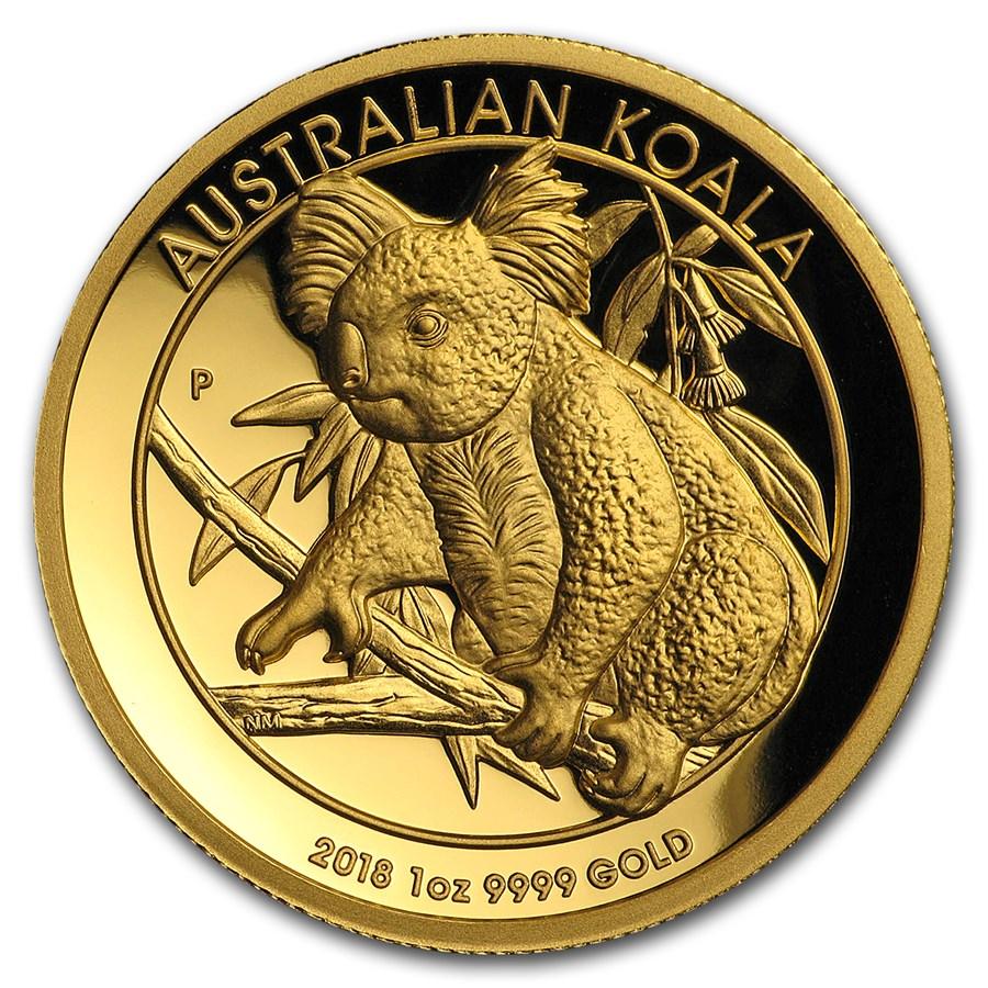 2018 Australia 1 oz Gold Koala Proof (High Relief, Box & COA)