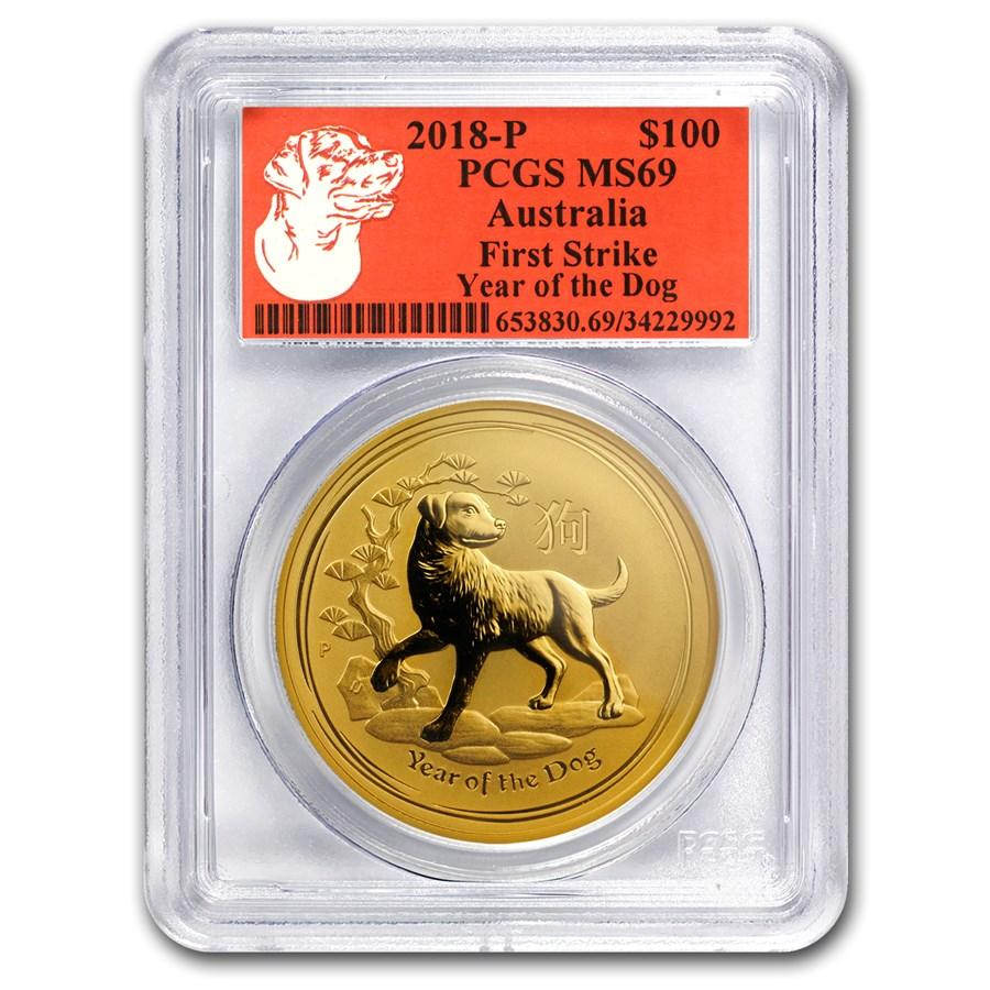 2018 Australia 1 oz Gold Lunar Dog MS-69 PCGS (FS, Red Label)