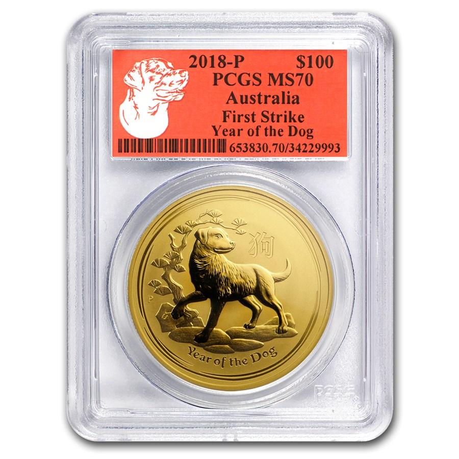 2018 Australia 1 oz Gold Lunar Dog MS-70 PCGS (FS, Red Label)