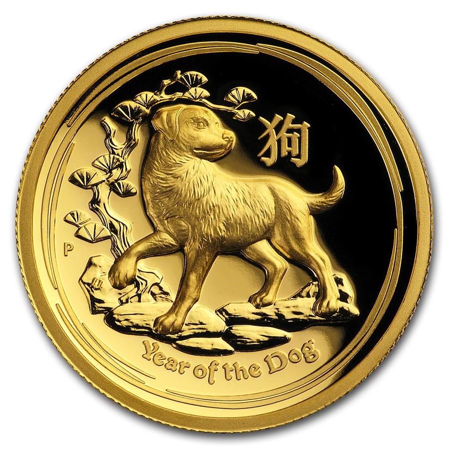 2018 Australia 1 oz Gold Lunar Dog Proof (HR, Box & COA)