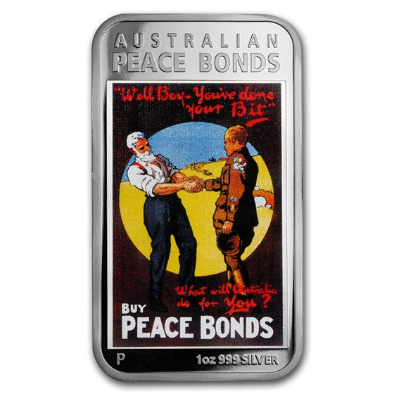 2018 Australia 1 oz Silver $1 Posters of World War I Peace Bond