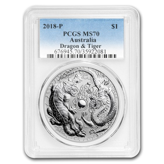 2018 Australia 1 oz Silver Dragon & Tiger MS-70 PCGS