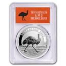 2018 Australia 1 oz Silver Emu MS-70 PCGS (FS, Emu Label)