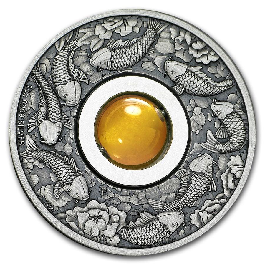 2018 Australia 1 oz Silver Good Luck Rotating Charm (Antiqued)