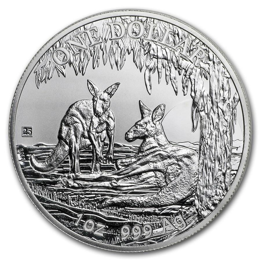 2018 Australia 1 oz Silver Kangaroo (25th Anniv Privy)