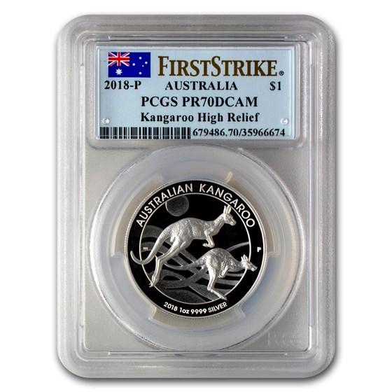 2018 Australia 1 oz Silver Kangaroo PR-70 PCGS (FS, High Relief)