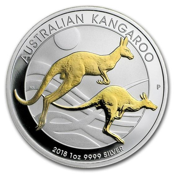 2018 Australia 1 oz Silver Kangaroo Proof (Gilded)