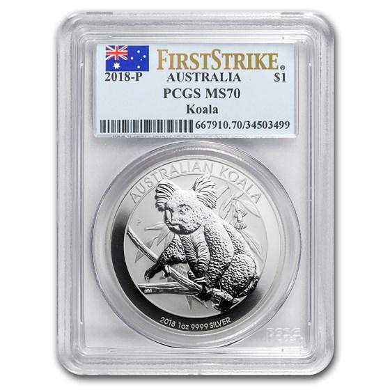2018 Australia 1 oz Silver Koala MS-70 PCGS FS