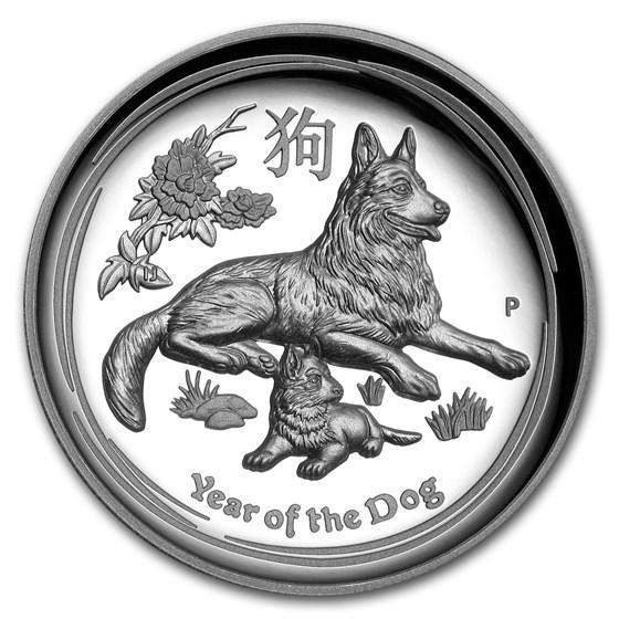 2018 Australia 1 oz Silver Lunar Dog Proof (HR, Box & COA)