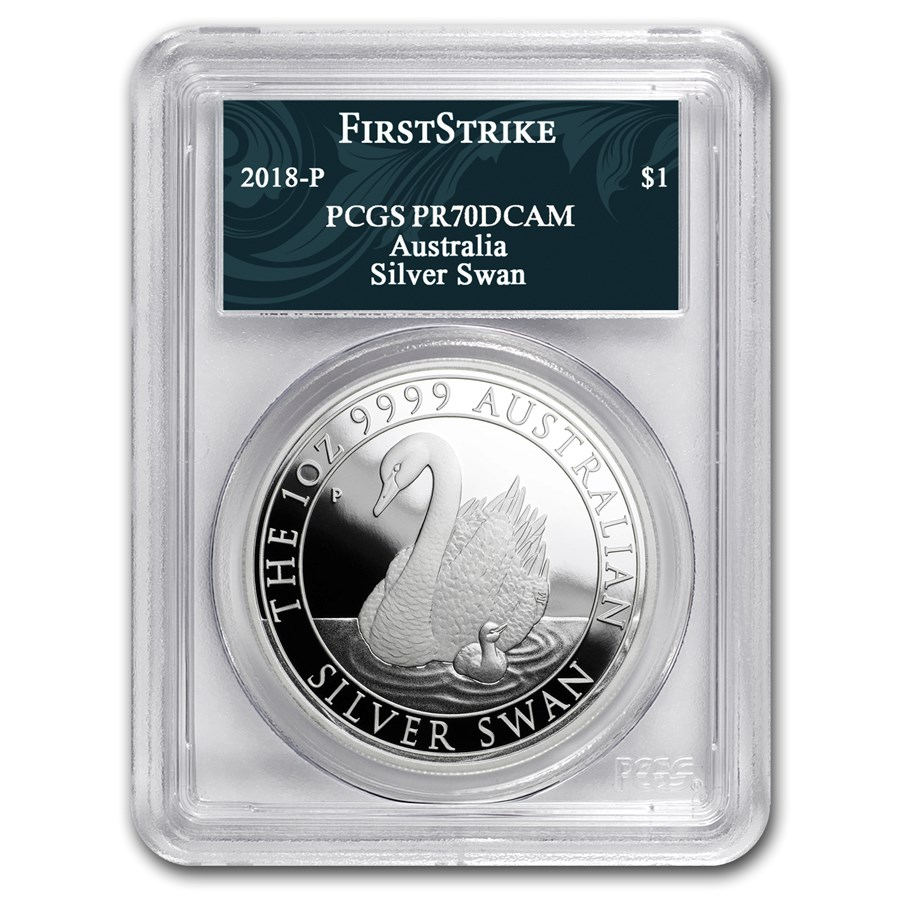 2018 Australia 1 oz Silver Swan PR-70 PCGS (FS, Swan Label)