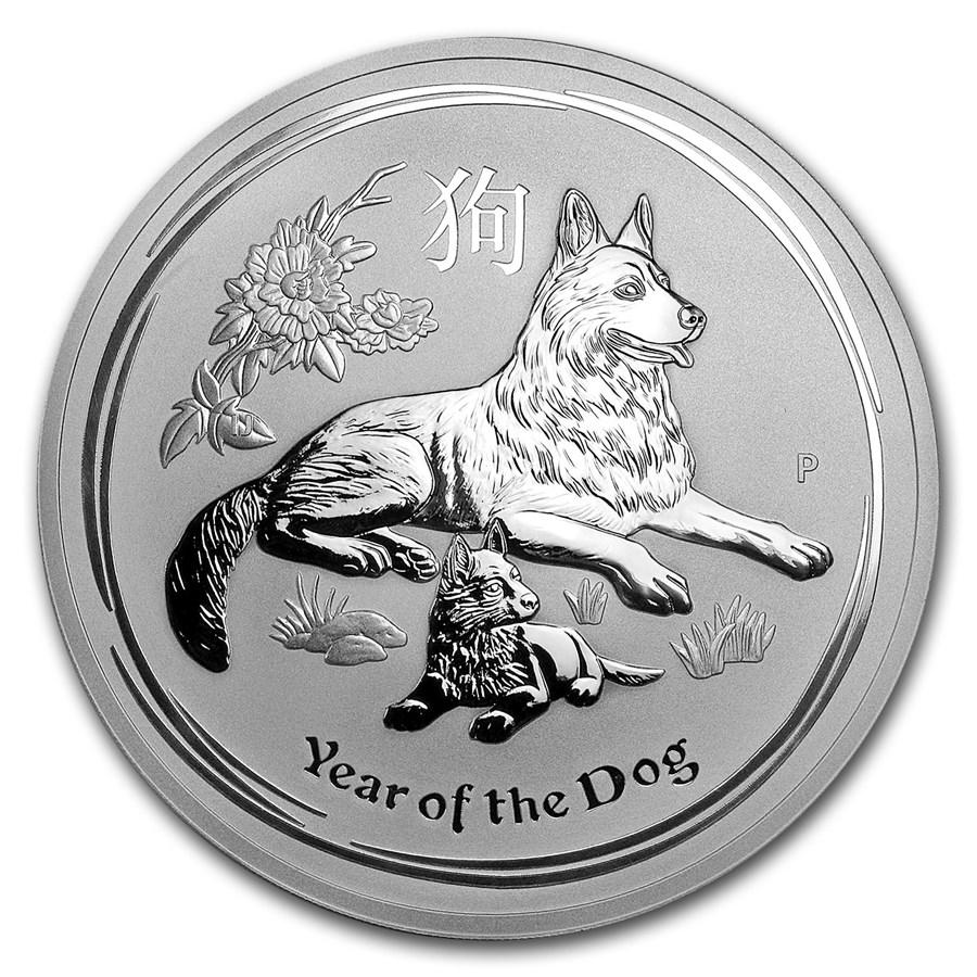 2018 Australia 10 oz Silver Lunar Dog BU