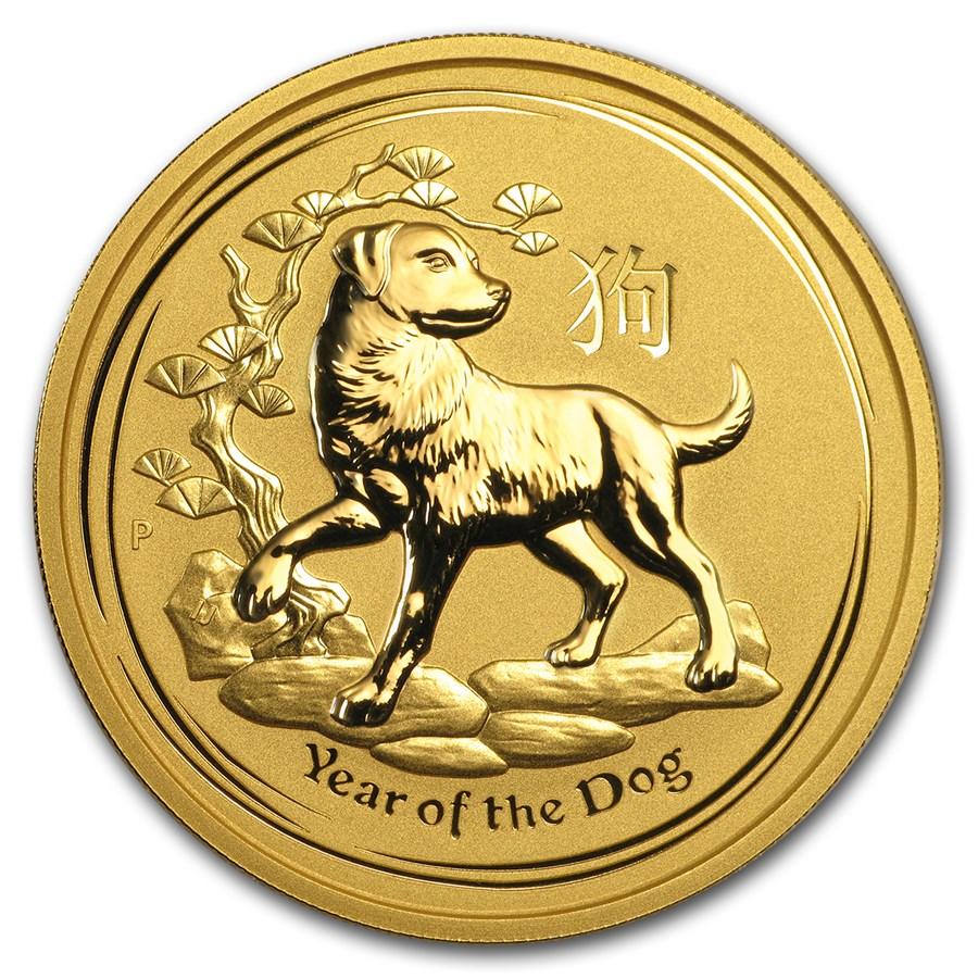 2018 Australia 2 oz Gold Lunar Dog BU