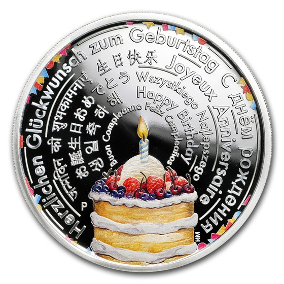 2018 Australia 2 oz Silver Happy Birthday Wishes Proof